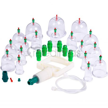 Plastové vakuové masážní baňky s pumpičkou  18ks