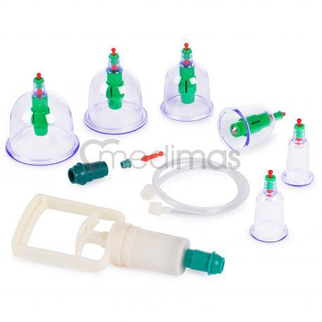 Plastové vakuové masážní baňky s pumpičkou a příslušenstvím  6ks
